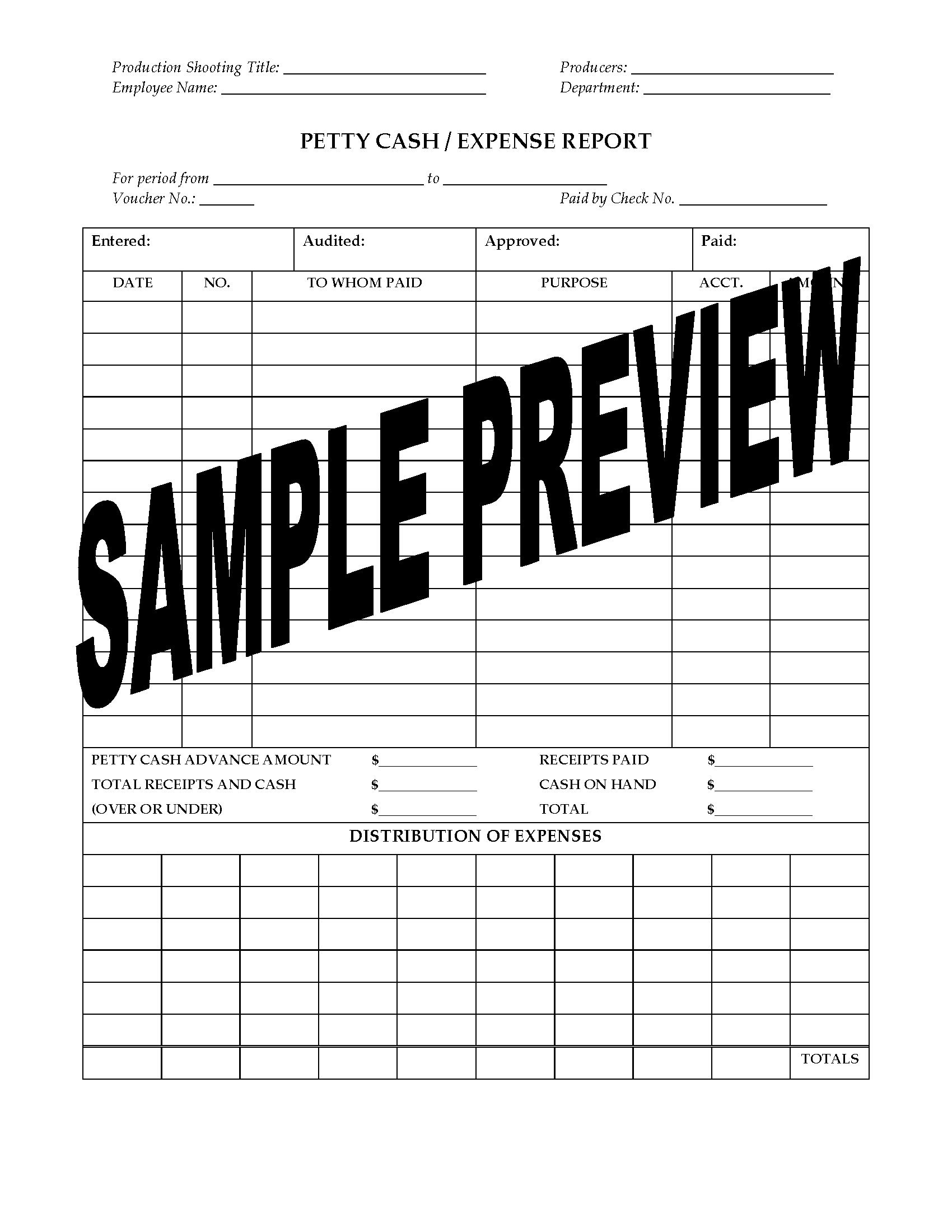Petty Cash Expense Report For Film Or Tv Production  Legal Forms Inside Petty Cash Expense Report Template