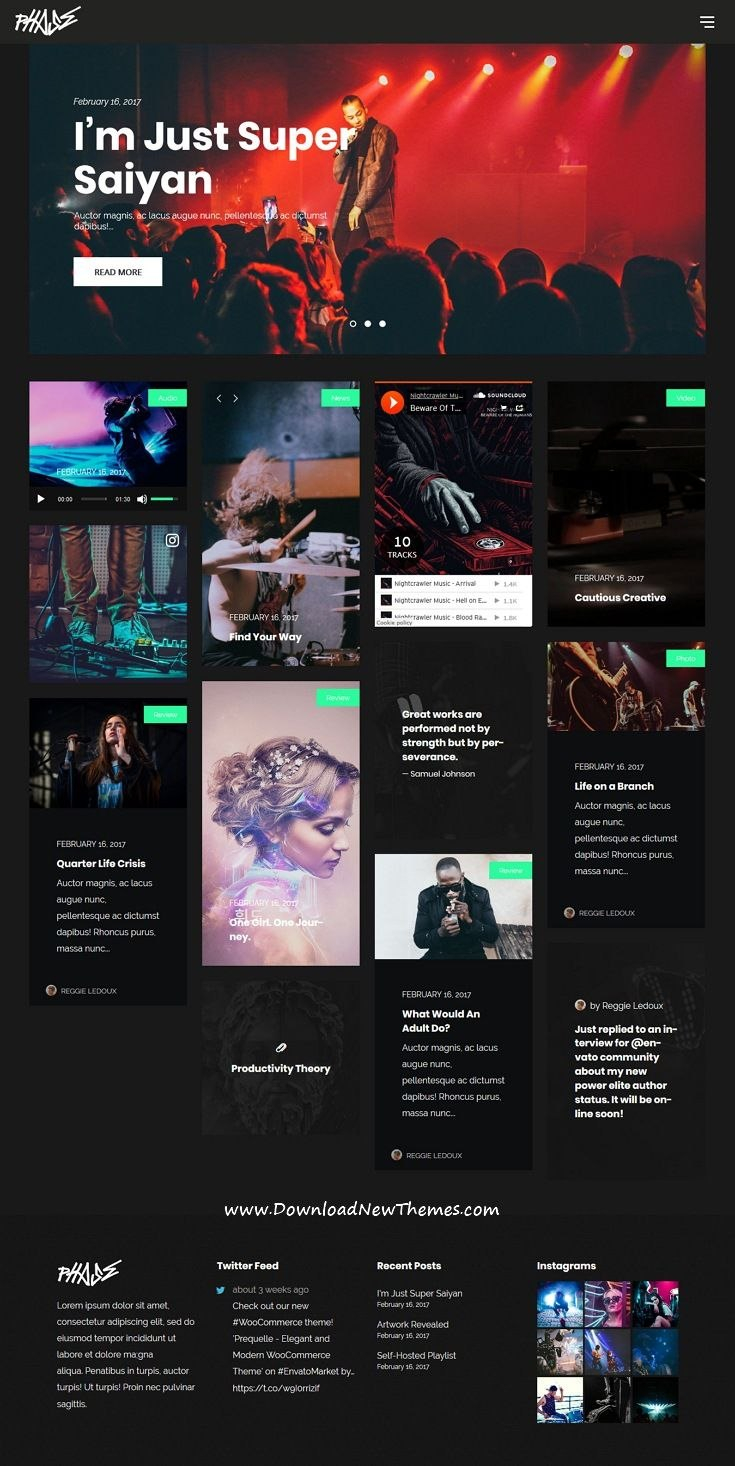 Phase Is A Clean And Modern Design Responsive WordPress Template Within Record Label Website Template Free