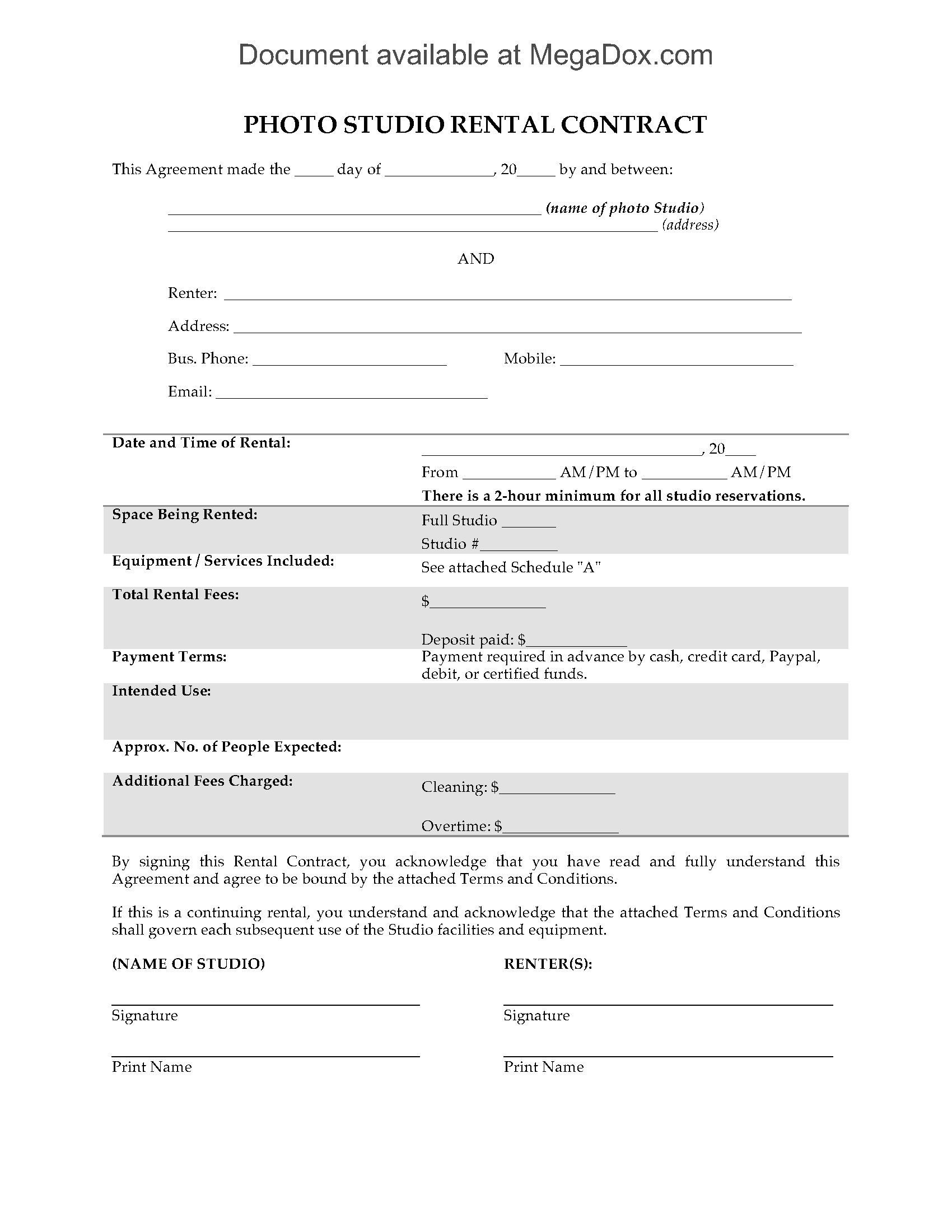 Photo Studio Rental Contract  Legal Forms And Business Templates For Camera Equipment Rental Agreement Template