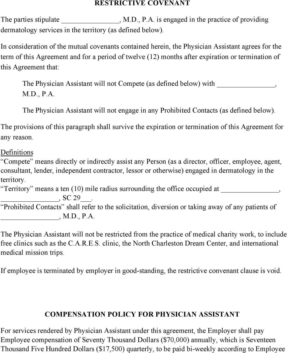 Physician Assistant Employment Agreement Terms Of Agreement  Pdf Throughout Physician Consulting Agreement Template