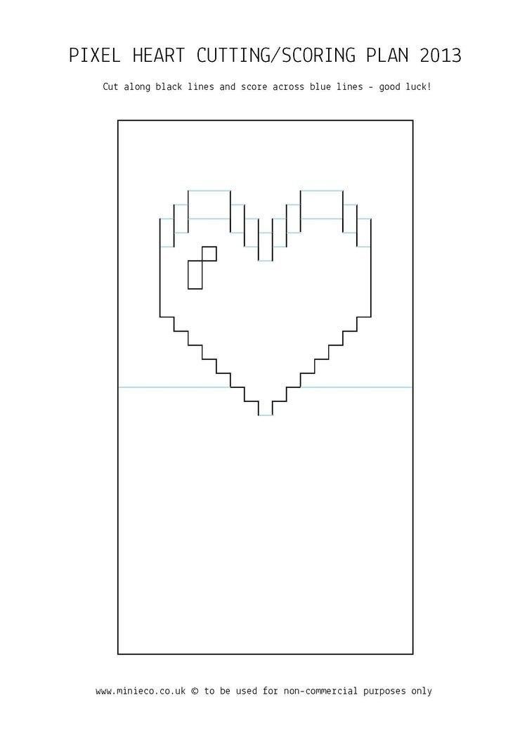 Pindede Paper On Paperpapersort   Pop Up Card Templates Within Pixel Heart Pop Up Card Template