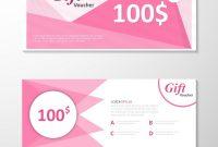 Pink Gift Voucher Template Layout Design Set Vector Image regarding Pink Gift Certificate Template