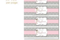 Pink Gray Dots Baby Princess Baby Shower Water Bottle Labels for Baby Shower Water Bottle Labels Template