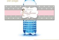 Pink Gray Dots Baby Princess Baby Shower Water Bottle Labels with Baby Shower Bottle Labels Template