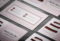 Pink Stripes  Chococake Bakery Business Card Template Bake inside Cake Business Cards Templates Free