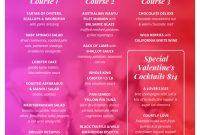 Pink Valentine's Day Pre Fixe Menu Template Template  Venngage inside Prix Fixe Menu Template