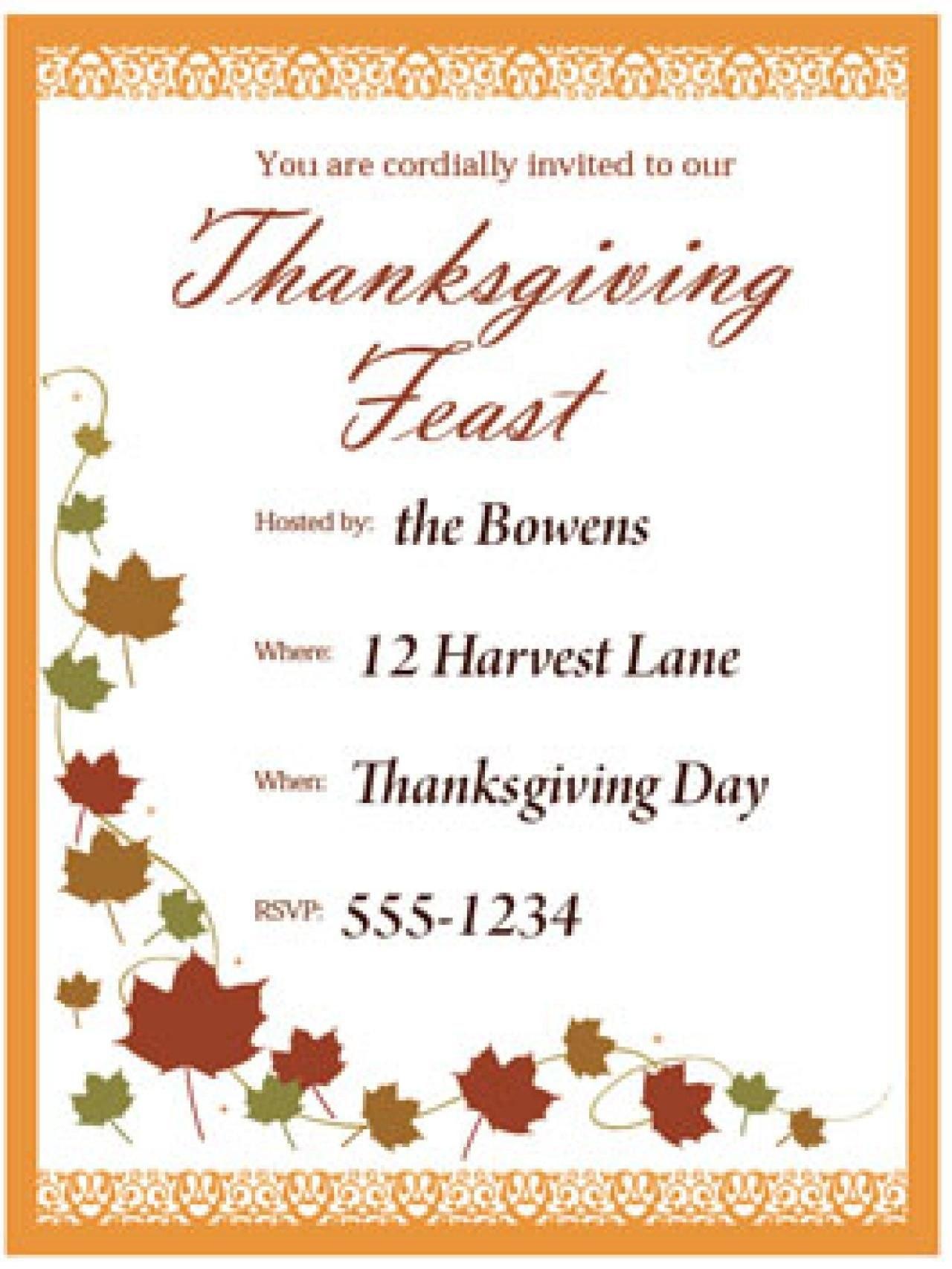 Pinkalonil On Thanksgiving Invitations  Thanksgiving Invitation Within Thanksgiving Day Menu Template