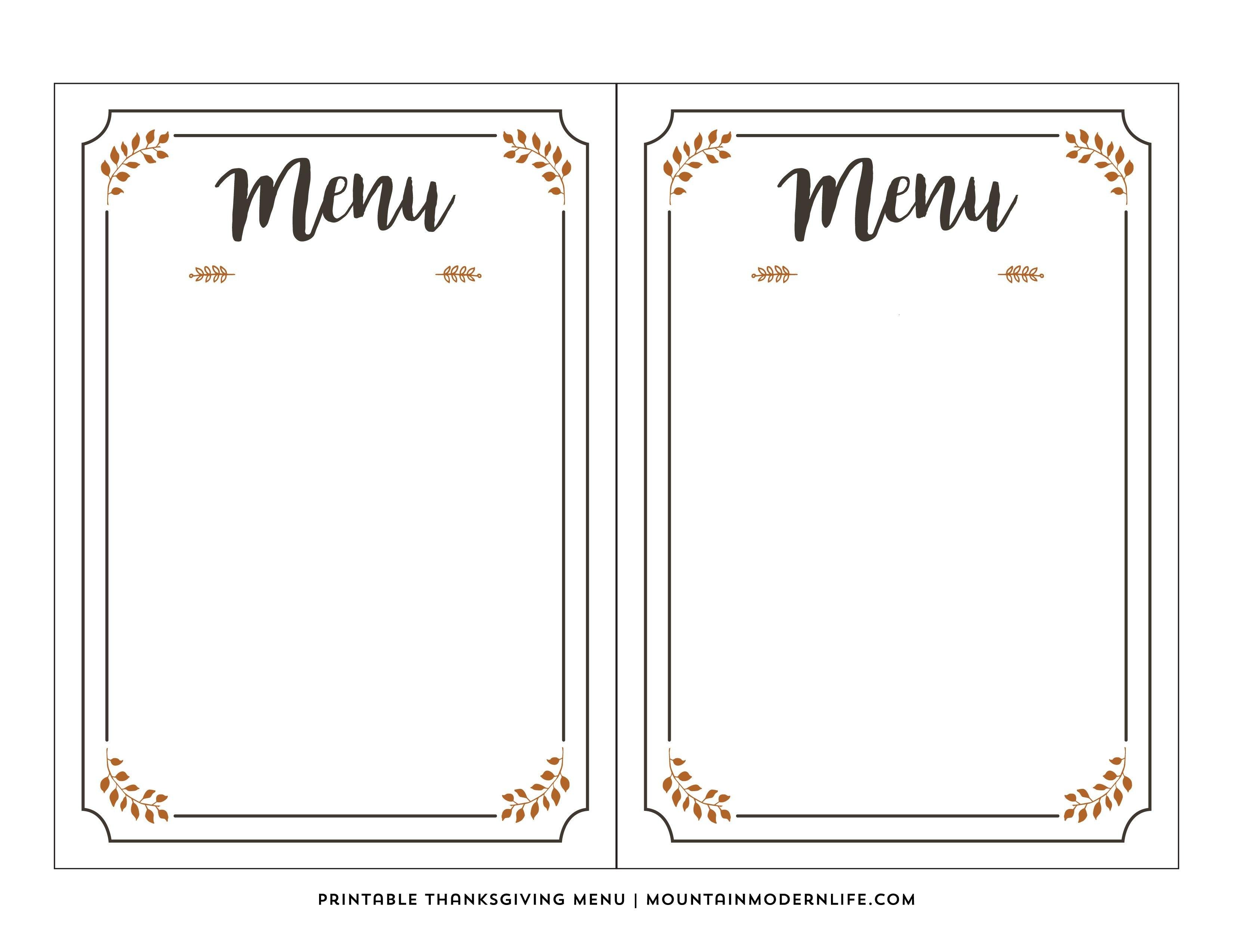 Pinkylah On Activities  Free Printable Menu Template Printable With Regard To Free Printable Menu Template