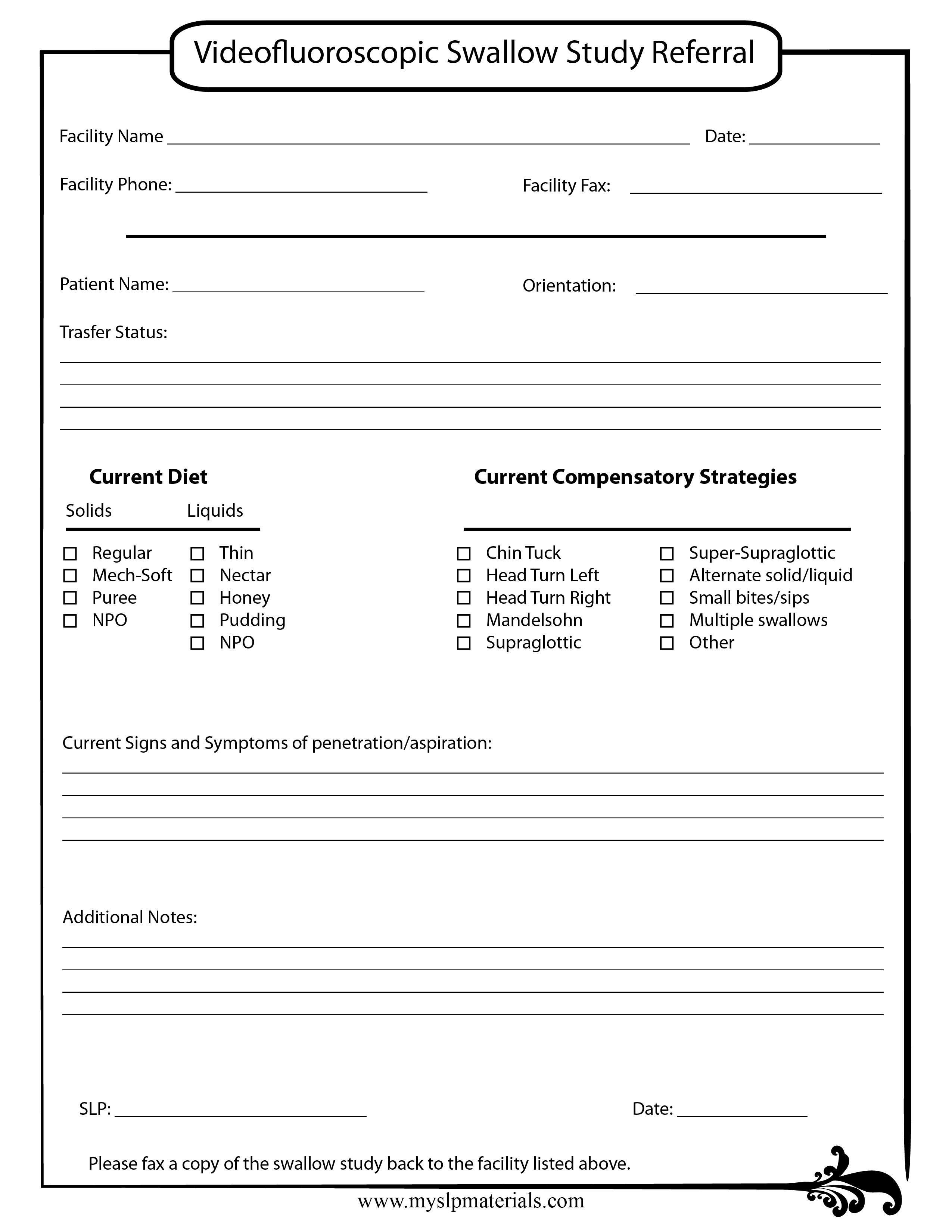 Pinshannon A On Mbss Report Templates  Swallow Study Report In Speech And Language Report Template