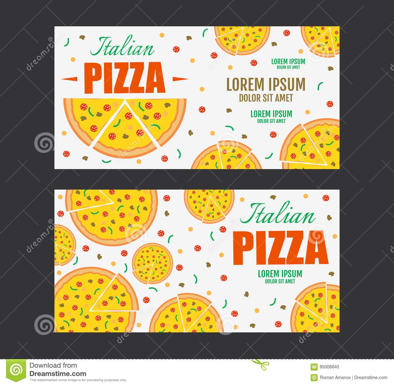 Pizza Flyer Vector Template Two Pizza Banners Gift Voucher Stock In Pizza Gift Certificate Template