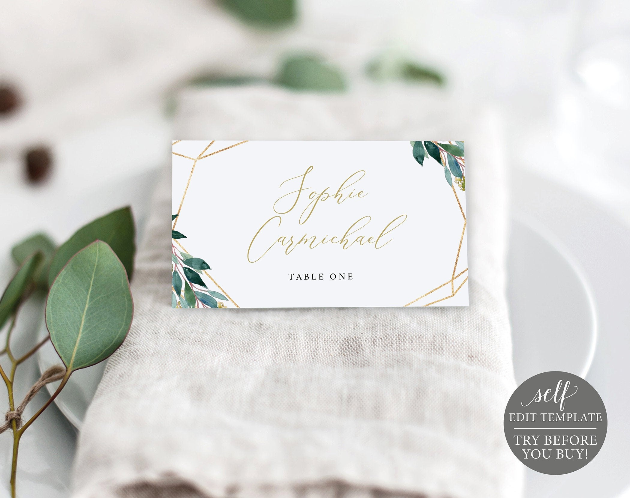Place Card Template Editable Instant Download Greenery Geometric With Regard To Michaels Place Card Template