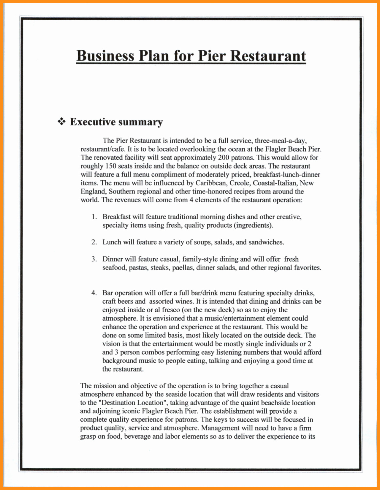 Plan Template Executive Summary Business Free Restaurant Inside Executive Summary Of A Business Plan Template