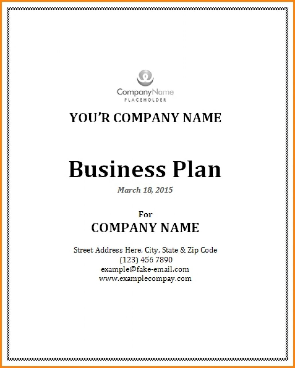 Plan Templates Business Cover Page Template Sample Example Of Intended For Business Plan Title Page Template