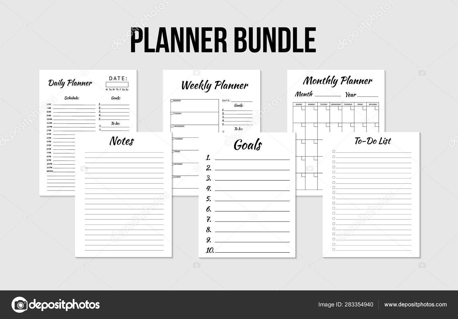 Planners Bundle Daily Weekly Monthly Planner Todo List Goals Regarding Blank To Do List Template