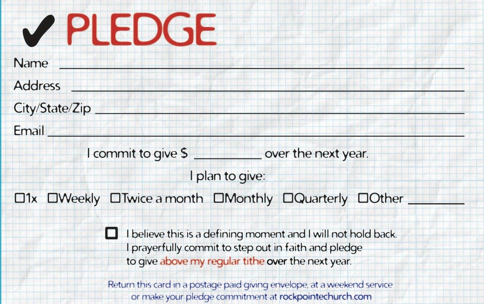 Pledge Cards For Churches  Pledge Card Templates  My Stuff Pertaining To Pledge Card Template For Church