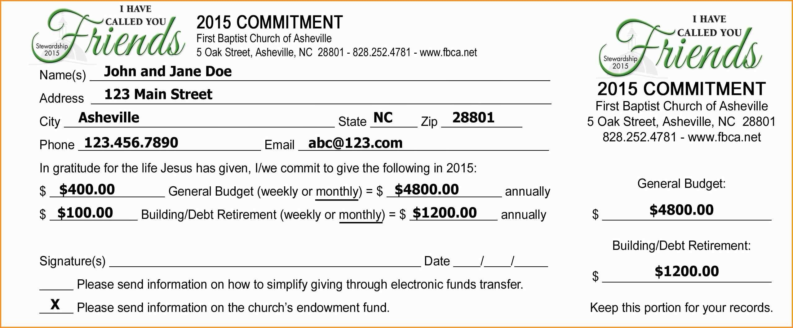 Pledge Cards Template Free Card Donation Excel Templates For Church Pertaining To Fundraising Pledge Card Template