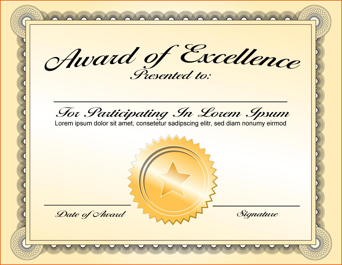 Png Certificates Award Transparent Certificates Award Images For Award Of Excellence Certificate Template