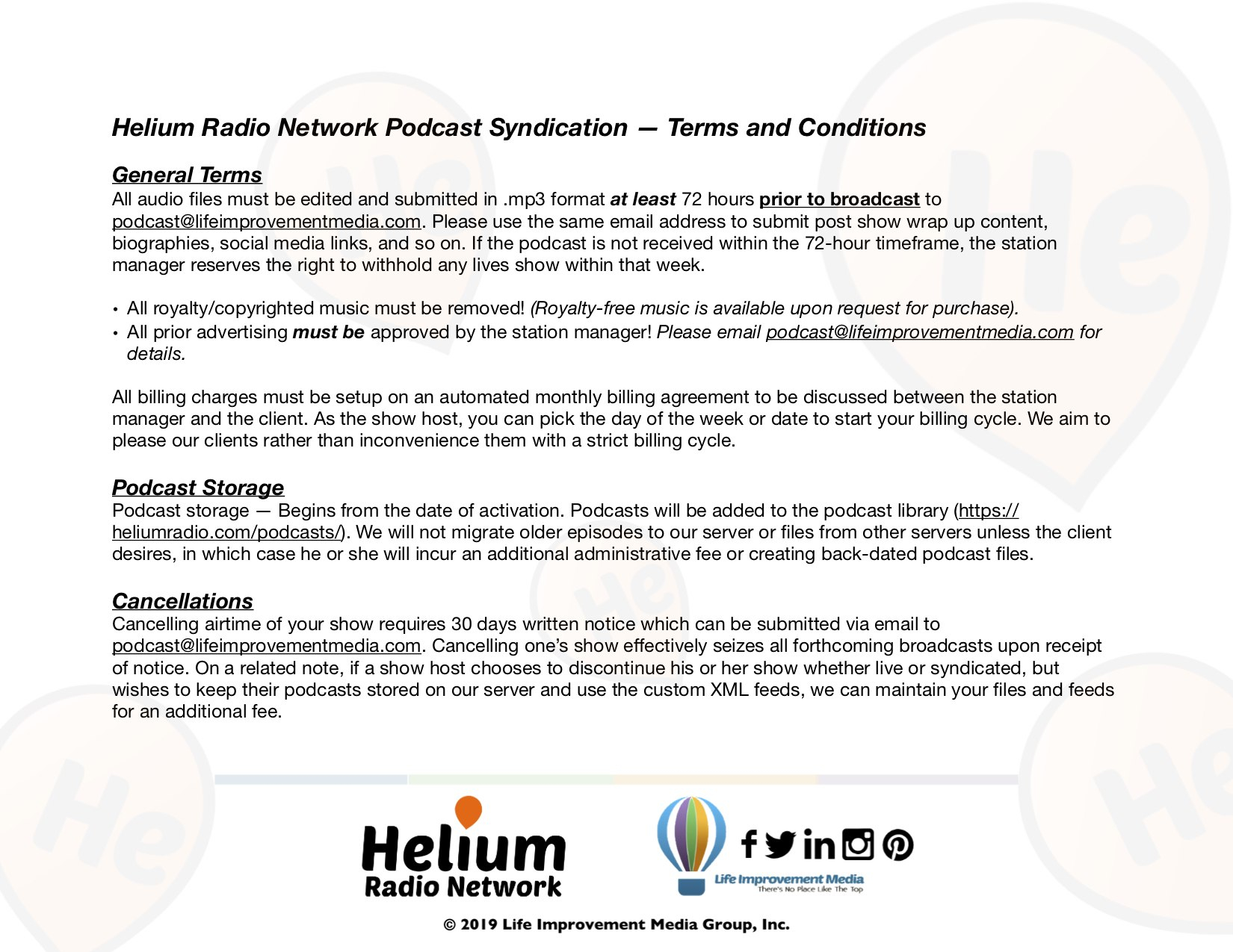 Podcasting Packages  Helium Radio Network Inside Radio Syndication Agreement Template