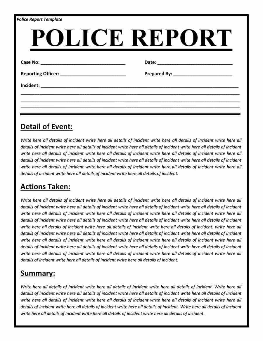 Police Report Templates   Free Blank Samples  Template Section With Fake Police Report Template