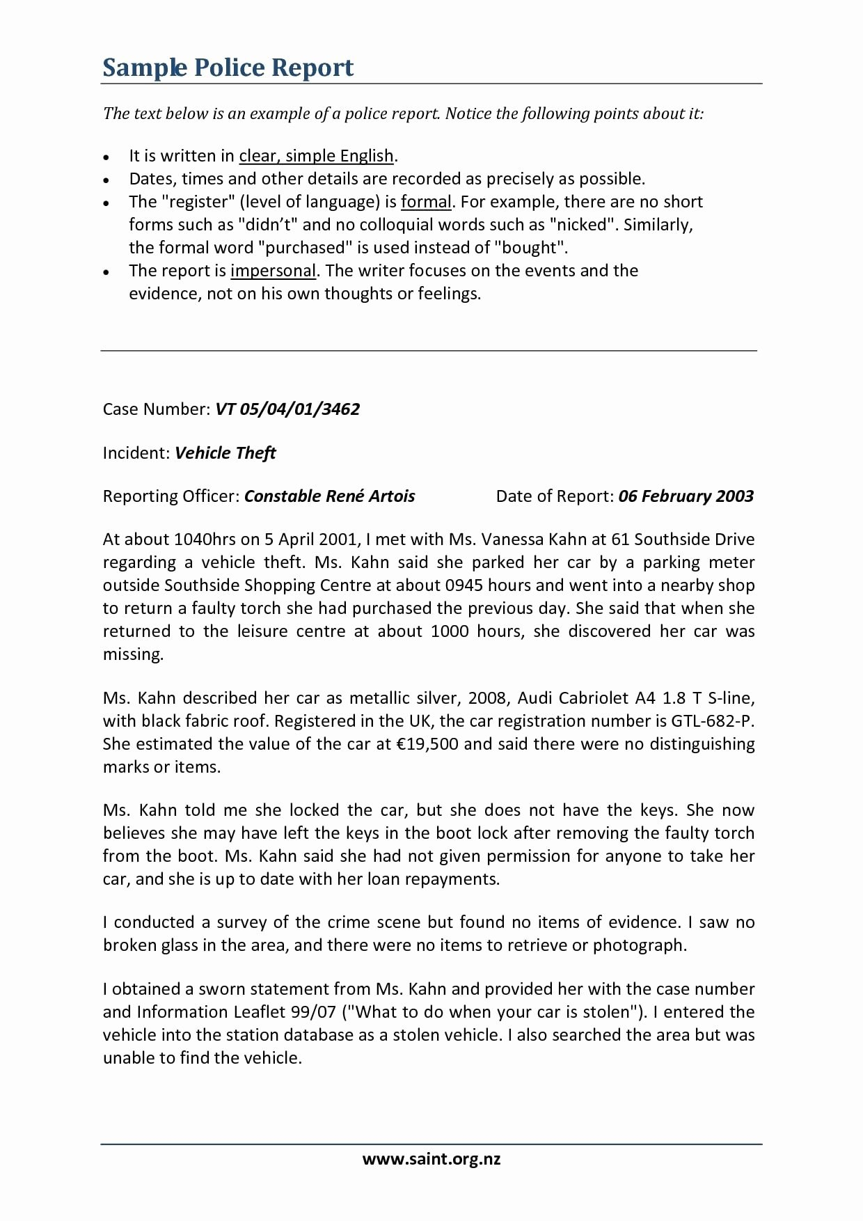 Police Report Writing Template Elegant  Narrative Report Examples With Regard To Report Writing Template Free
