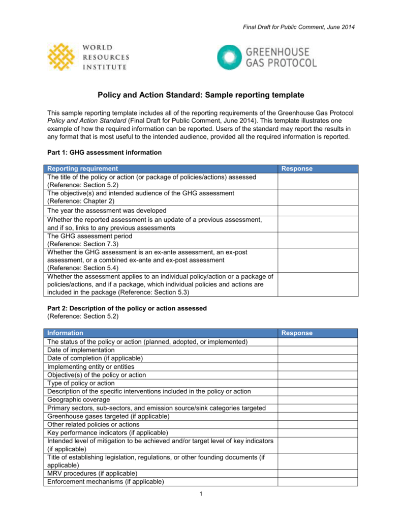 Policy And Action Standard  Sample Reporting Template Throughout Report Requirements Document Template