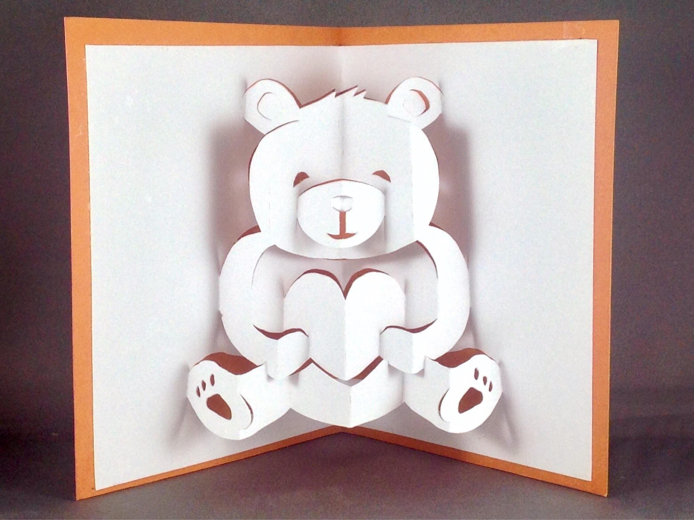 Pop Up Teddy Bear Card Cute Bear Card I Love You Card  Etsy In Teddy Bear Pop Up Card Template Free