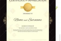 Portrait Luxury Certificate Template With Elegant Golden Border with Elegant Certificate Templates Free