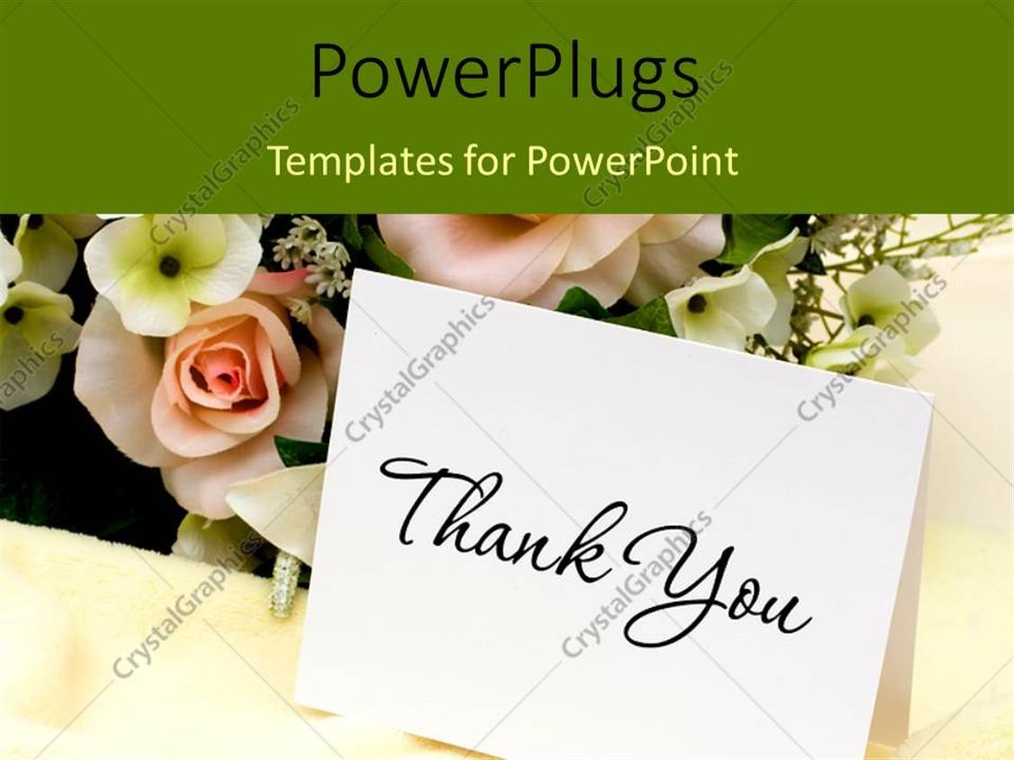 Powerpoint Template Bouquet Of Flowers With A Thank You Card Throughout Powerpoint Thank You Card Template