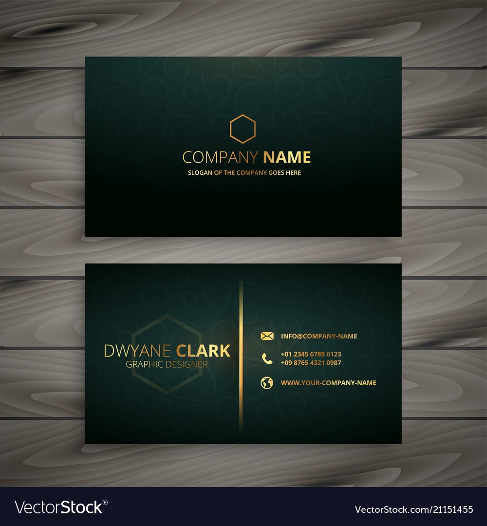 Premium Elegant Business Card Template Royalty Free Vector Within Buisness Card Template