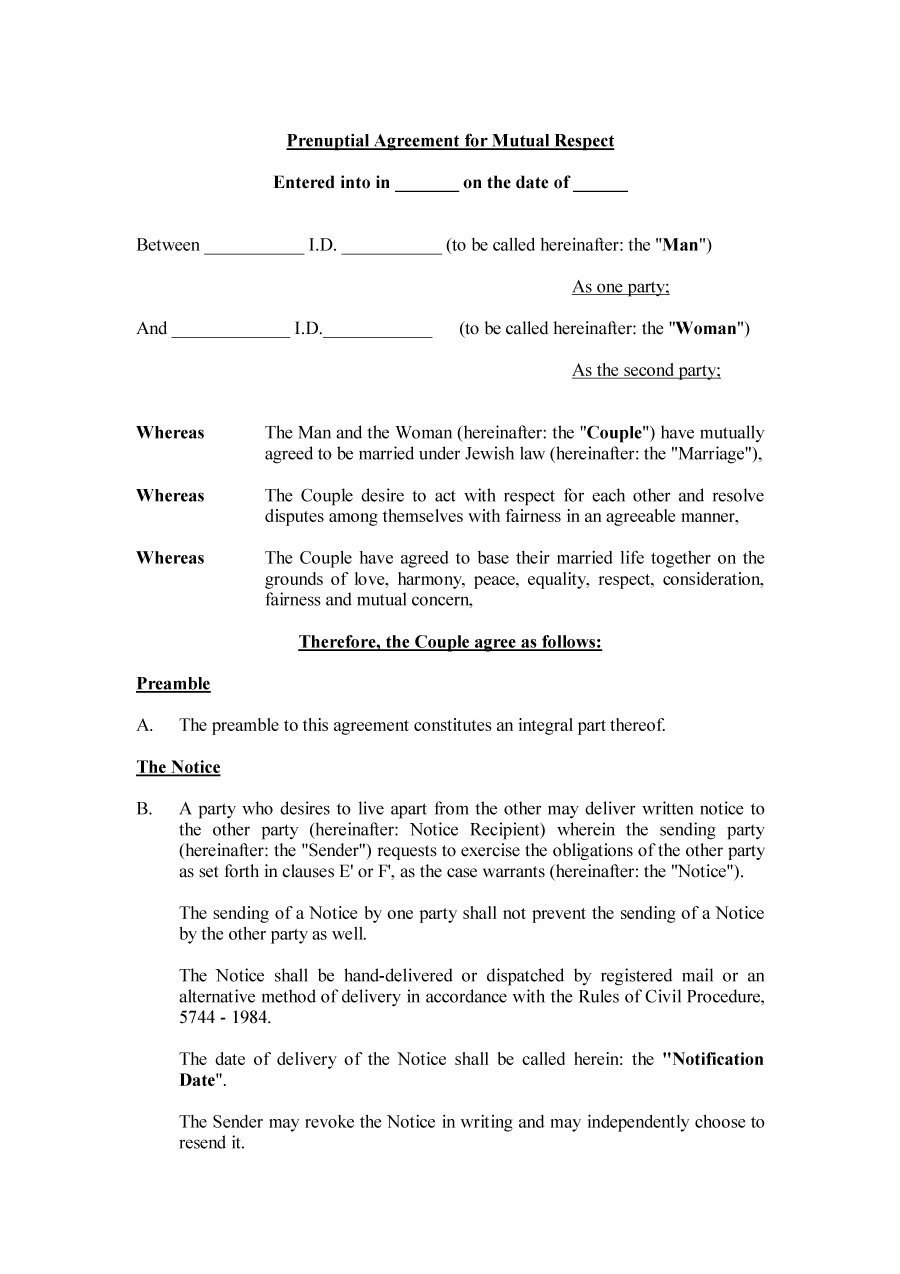 Prenuptial Agreement Template  Icardcmic In New York Prenuptial Agreement Template