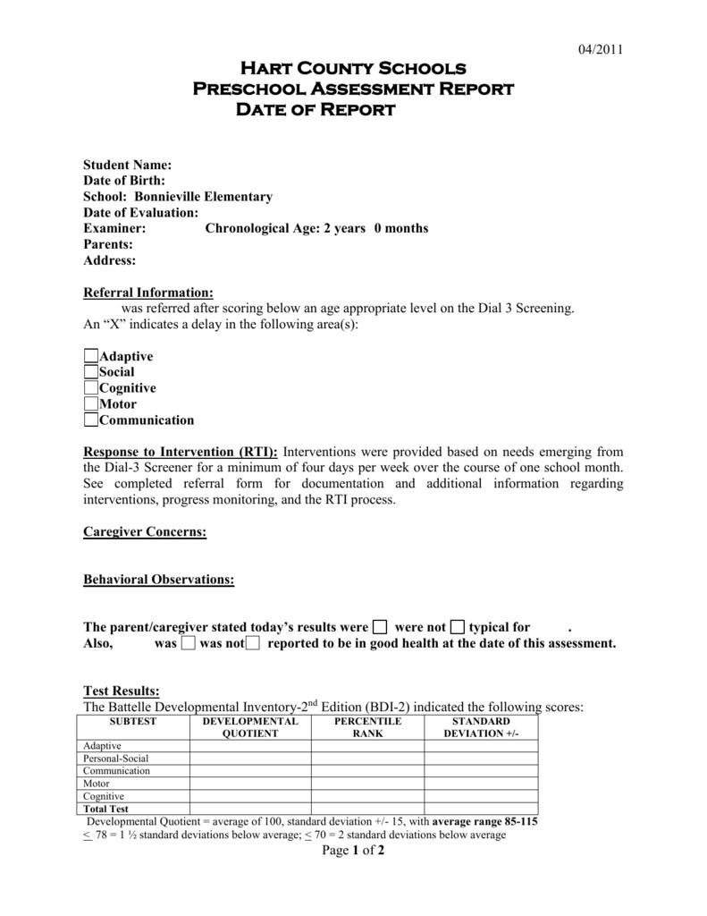 Preschool Evaluation Report Template Inside Template For Evaluation Report