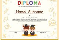 Preschool Kids Diploma Certificate Template Vector Image intended for Preschool Graduation Certificate Template Free