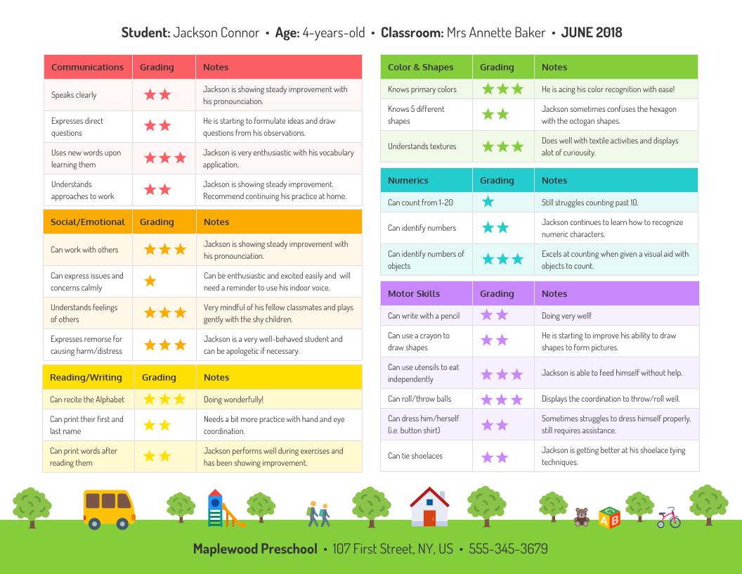 Preschool Progress Report Template  Venngage With Soccer Report Card Template