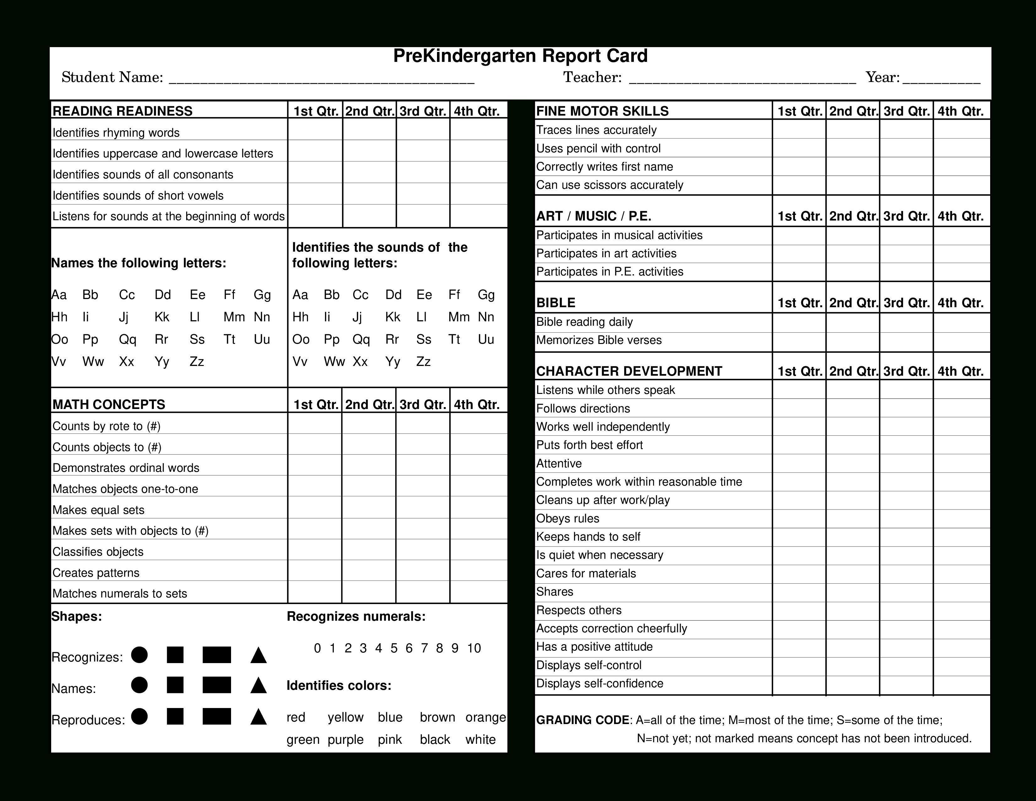 Preschool Report Card  Templates At Allbusinesstemplates Within Character Report Card Template