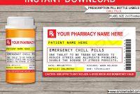 Prescription Printable Chill Pill Labels Template  Fun Gag Gift pertaining to Prescription Labels Template