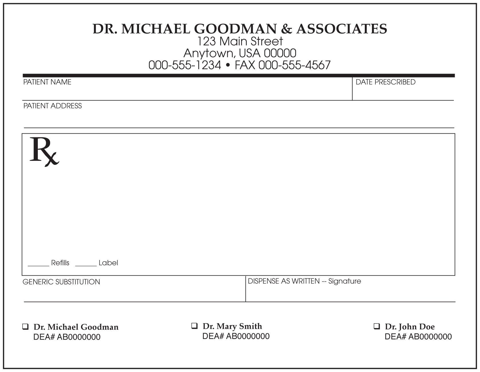 Prescription Templates  Doctor  Pharmacy  Medical Regarding Blank Prescription Form Template