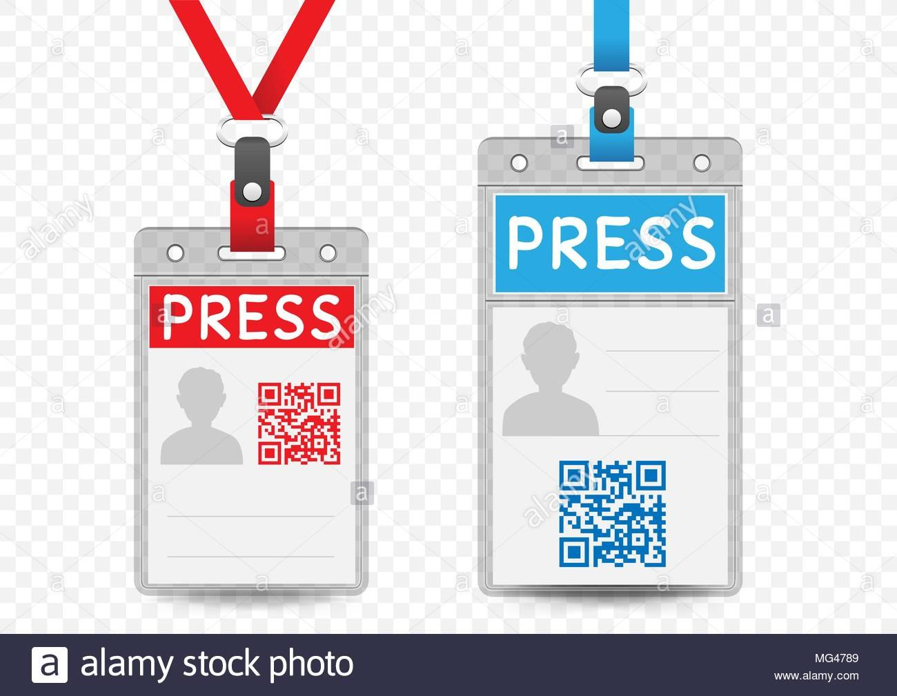 Press Journalist Vertical Badge Empty Template With Blue And Red Intended For Media Id Card Templates