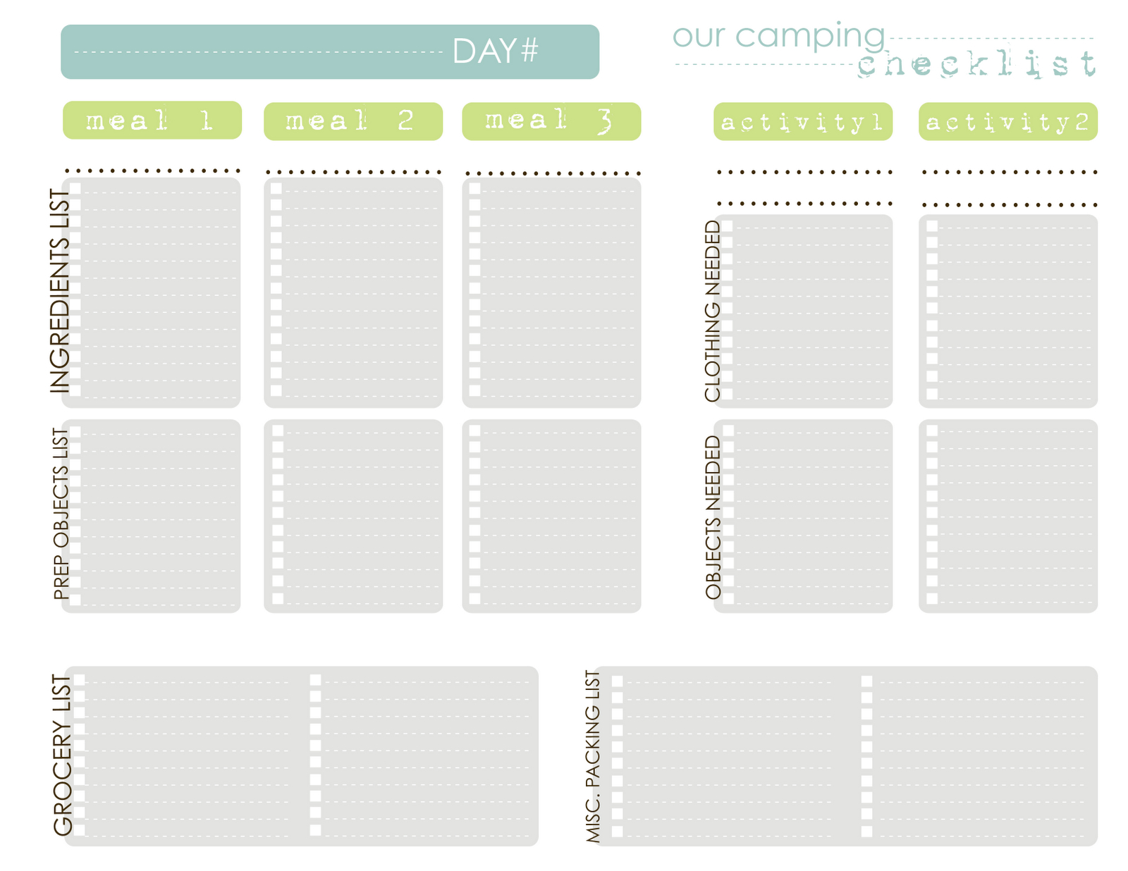 Pretty Camping Menu Planner Template Images Gallery Printable Menu Pertaining To Camping Menu Planner Template
