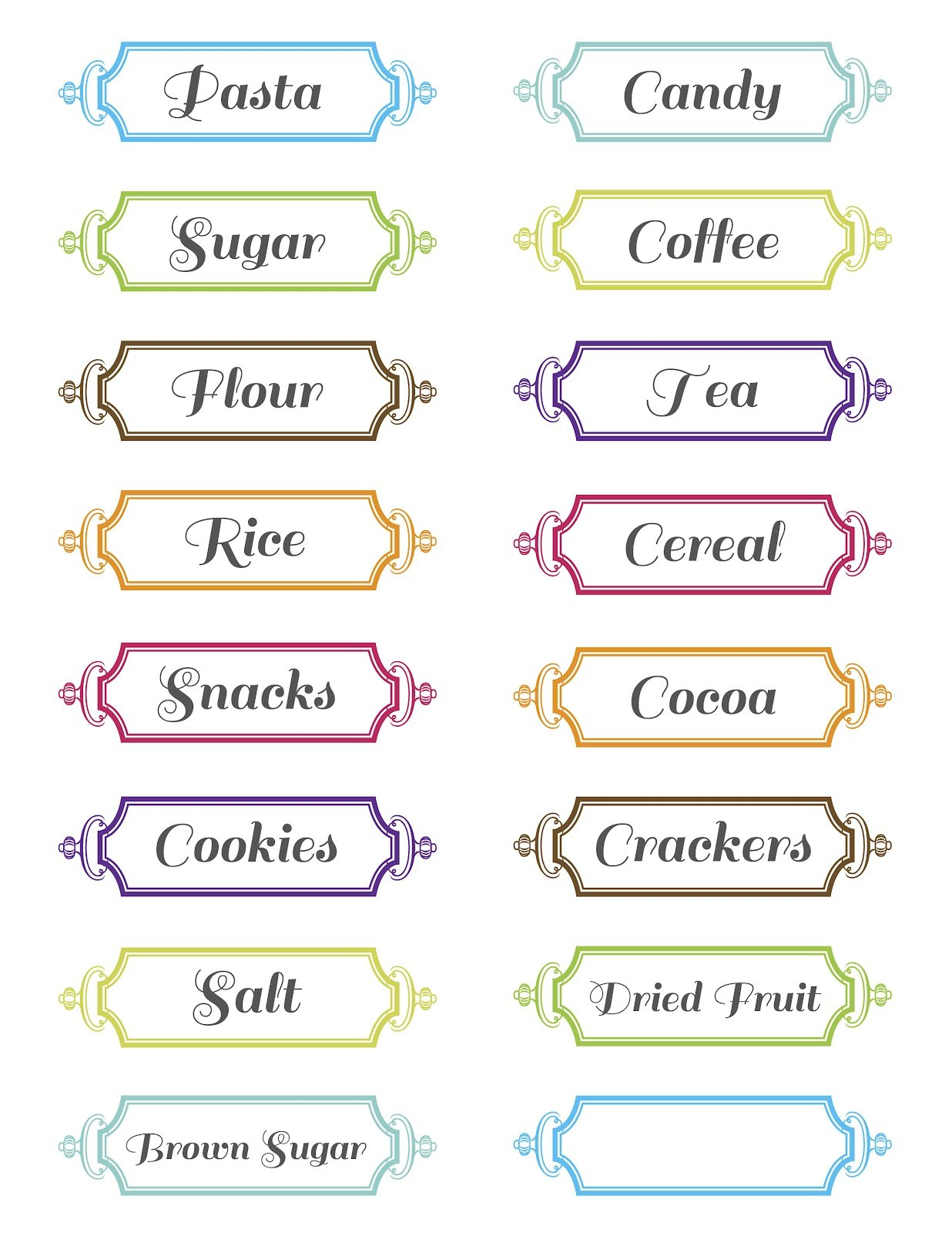 Pretty Kitchen Or Pantry Labels  Kittybabylove Intended For Pantry Labels Template