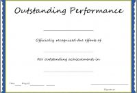 Pretty Outstanding Performance Certificate Template Images Award with regard to Best Performance Certificate Template