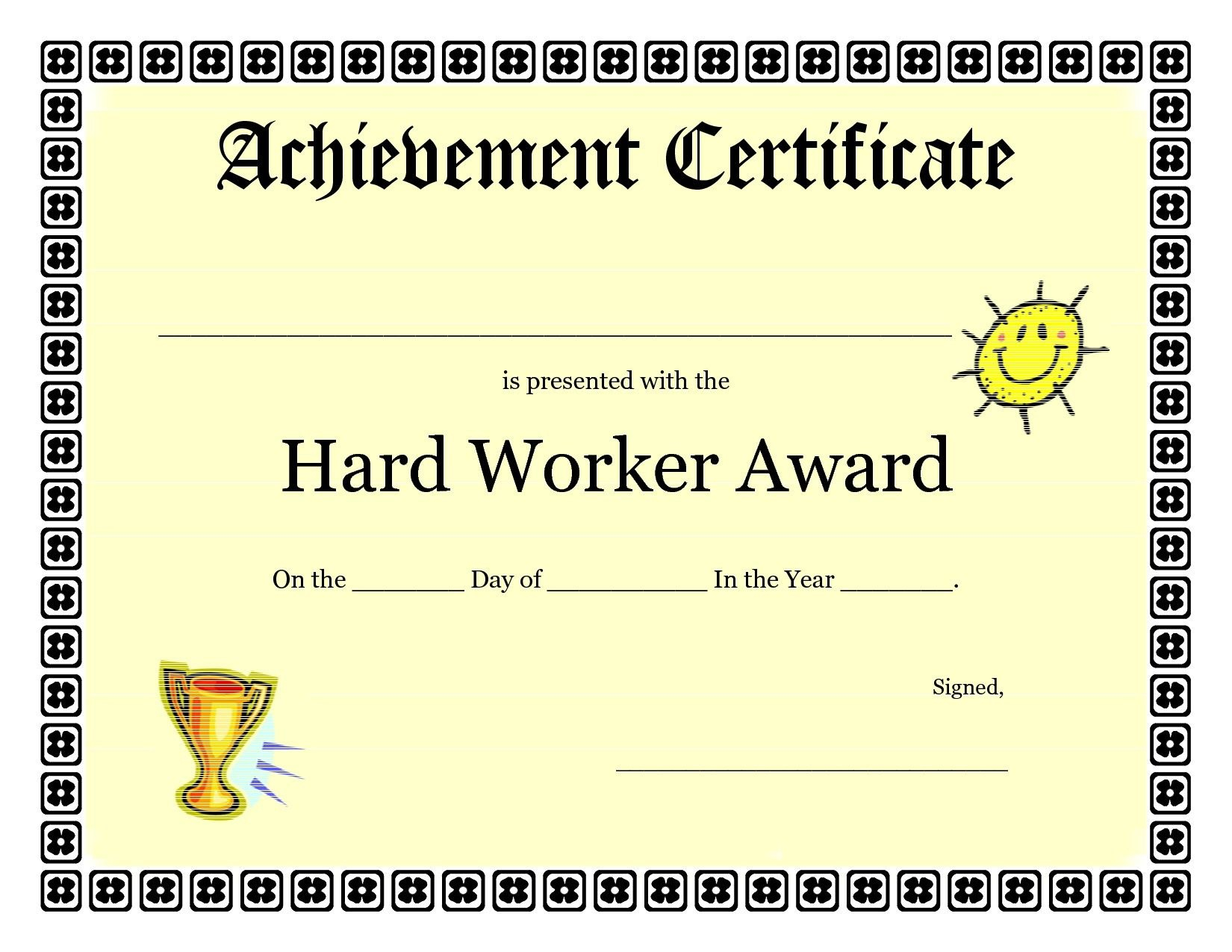 Printable Achievement Certificates Kids  Hard Worker Achievement Inside Certificate Of Accomplishment Template Free