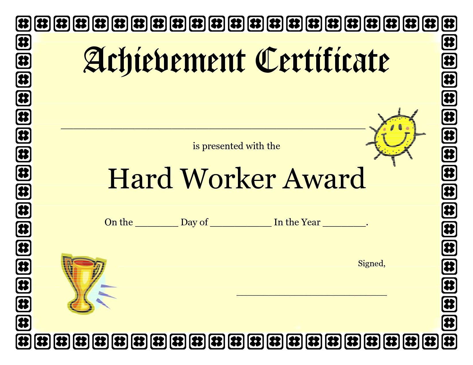 Printable Achievement Certificates Kids  Hard Worker Achievement Within Certificate Template For Pages