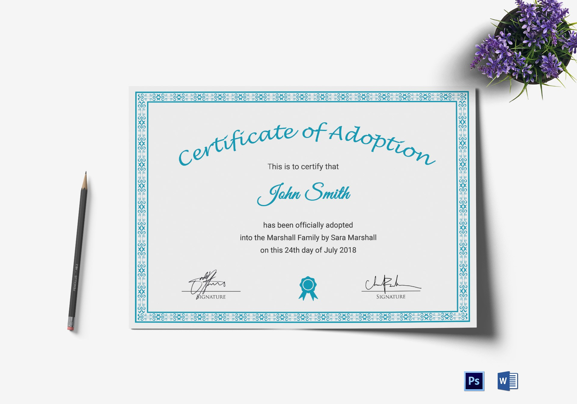 Printable Adoption Certificate Design Template In Psd Word Throughout Blank Adoption Certificate Template
