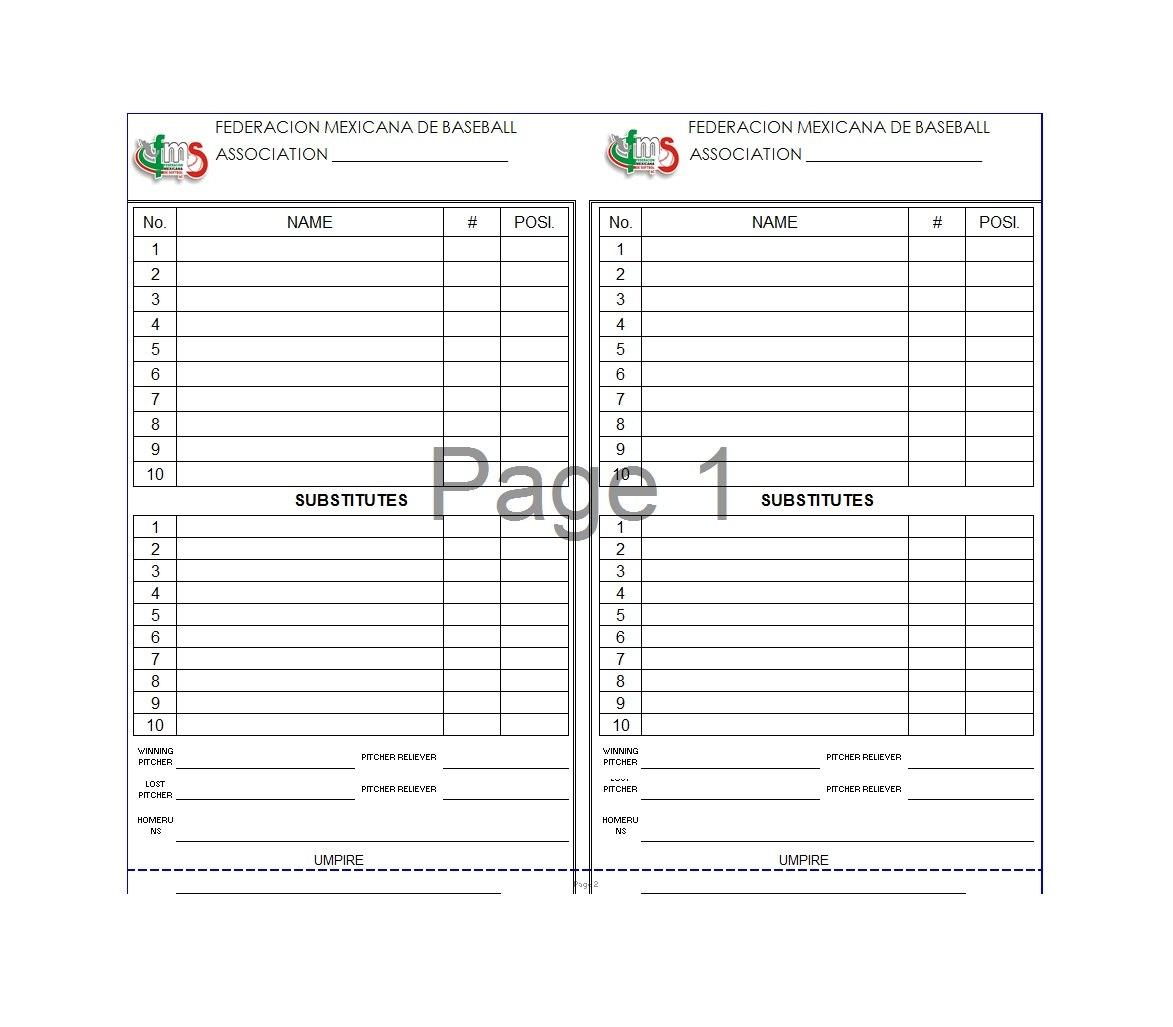 Printable Baseball Lineup Templates Free Download ᐅ Template Lab Pertaining To Baseball Lineup Card Template