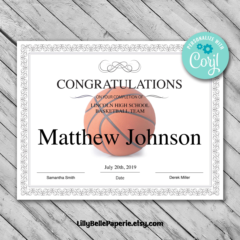 Printable Basketball Certificate Template Editable  Etsy Intended For Basketball Camp Certificate Template