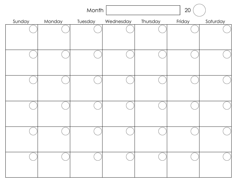 Printable Blank Monthly Calendar  Calendar Template Printable Intended For Blank Activity Calendar Template