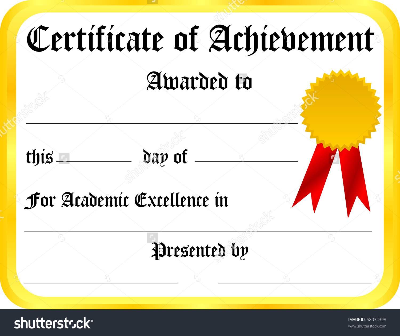 Printable Certificate Of Achievement  Design Templates Regarding Certificate Of Attainment Template