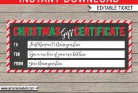 Printable Christmas Gift Certificate  Christmas Gift Voucher in Present Certificate Templates