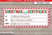 Printable Christmas Gift Certificate  Christmas Gift Voucher inside Christmas Gift Certificate Template Free Download