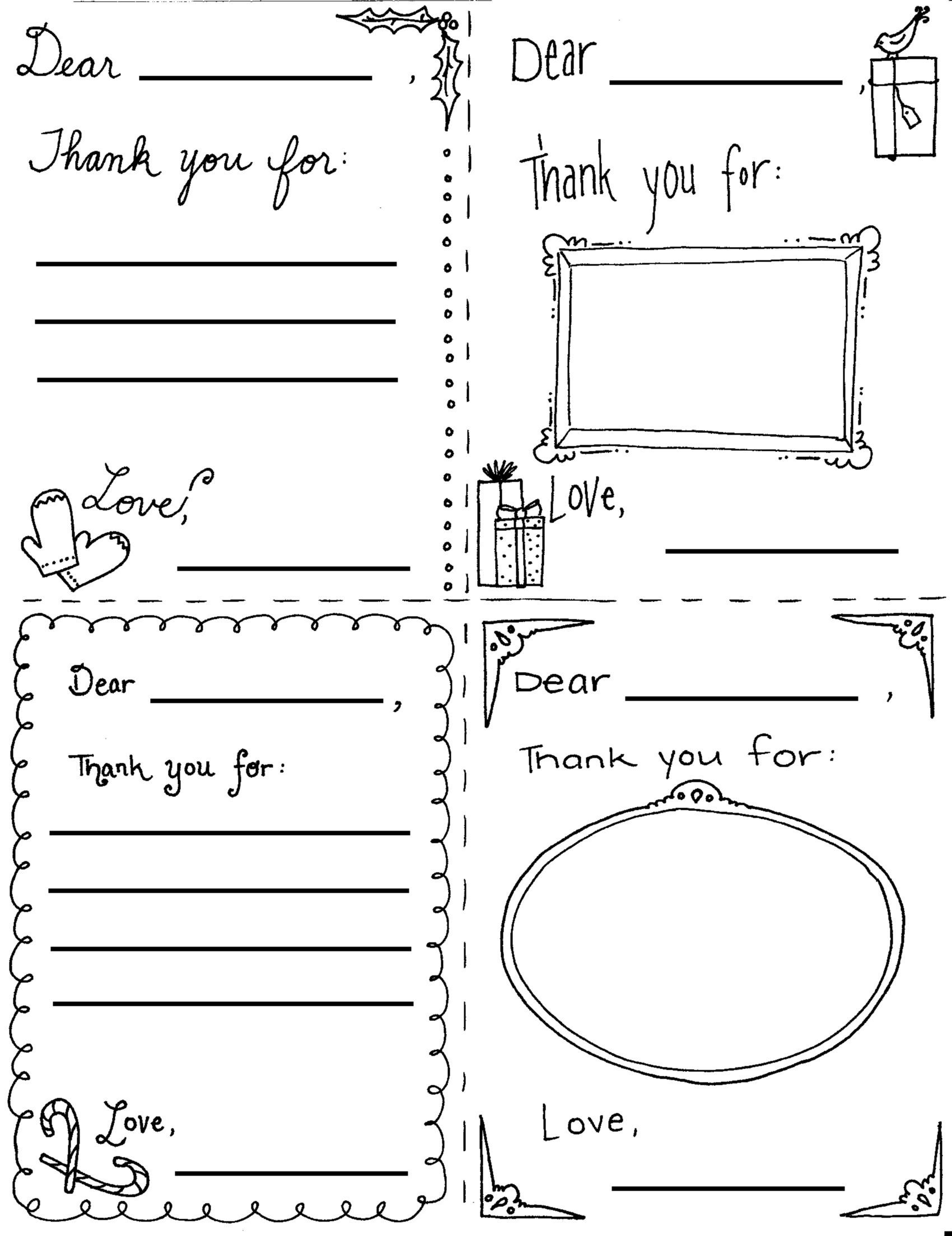 """Printable Christmas """"thank You"""" Cards For Children  Holidays Pertaining To Christmas Note Card Templates"""